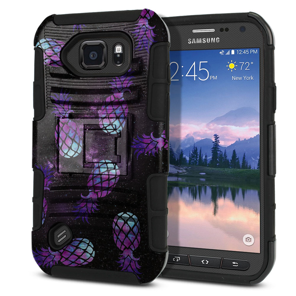 Samsung Galaxy S6 Active G890 Hybrid Rigid Stand Purple Pineapples Galaxy Protector Cover Case