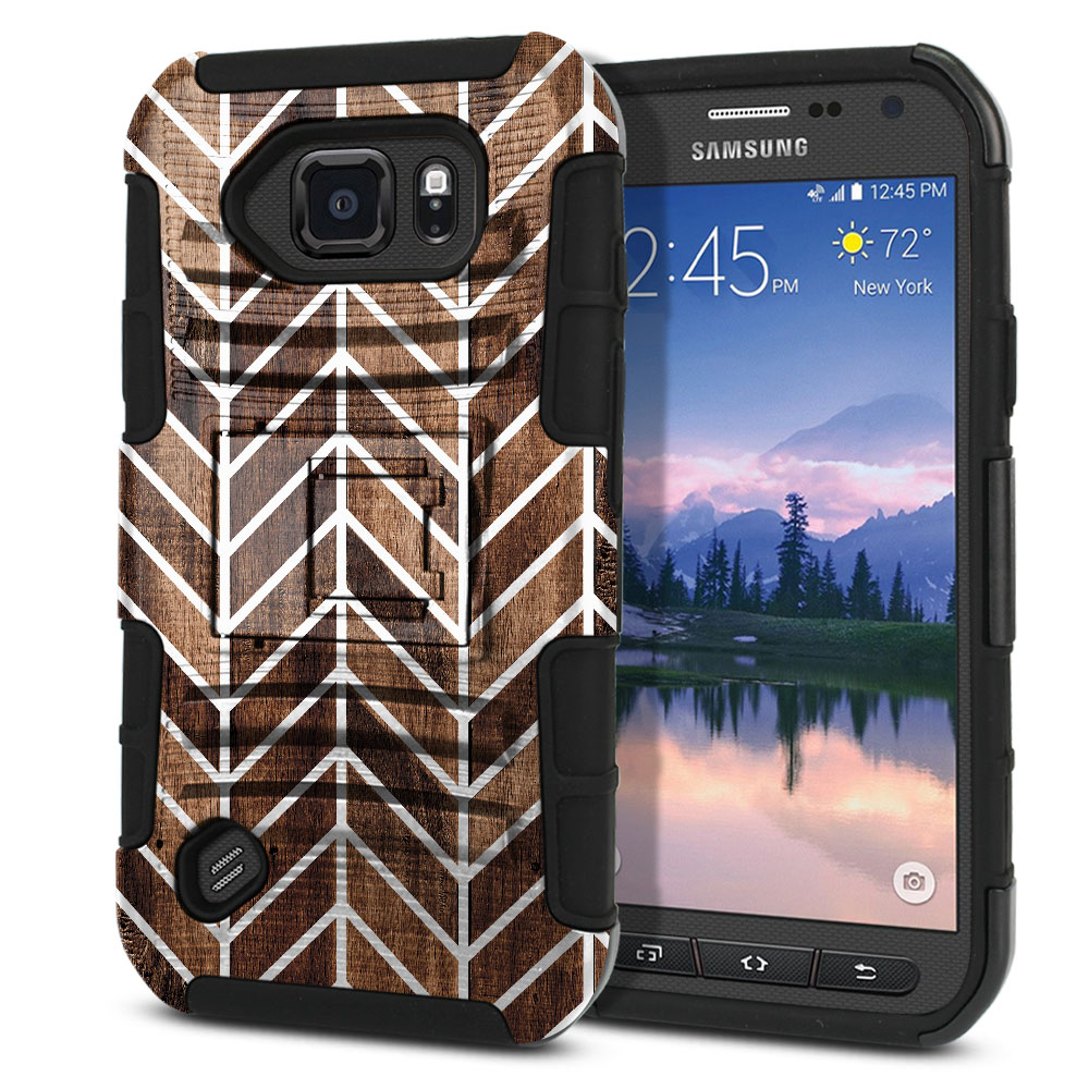 Samsung Galaxy S6 Active G890 Hybrid Rigid Stand Modern Chevron Wood Protector Cover Case