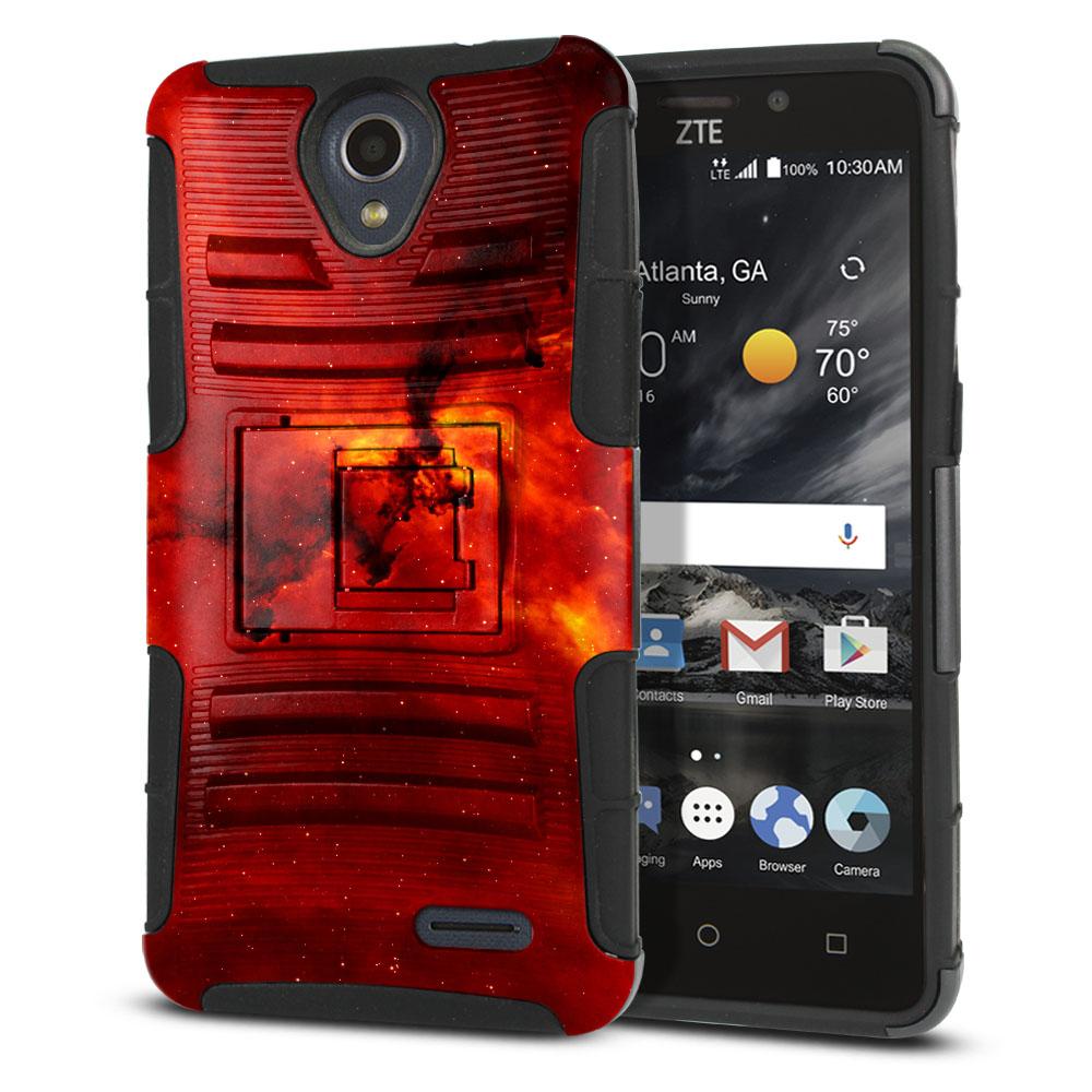 ZTE Prestige N9132 Hybrid Rigid Stand Fiery Galaxy Protector Cover Case
