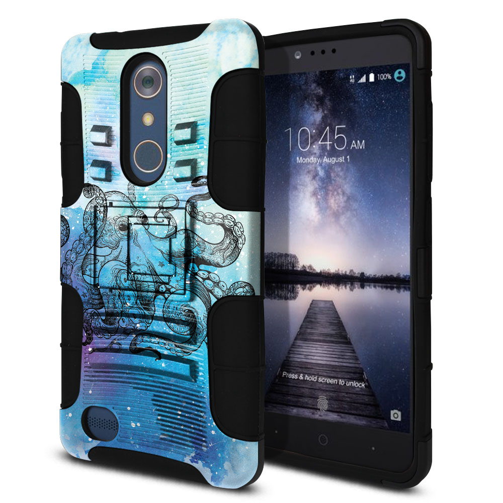 ZTE Zmax Pro Carry Z981 Hybrid Rigid Stand Blue Water Octopus Protector Cover Case