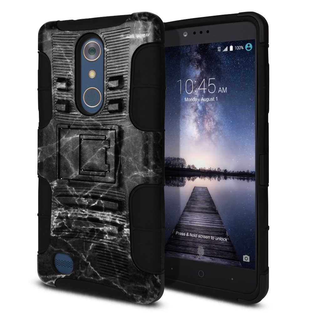 ZTE Zmax Pro Carry Z981 Hybrid Rigid Stand Black Stone Marble Protector Cover Case