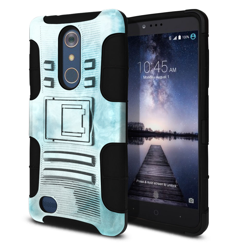 ZTE Zmax Pro Carry Z981 Hybrid Rigid Stand Blue Cloudy Marble Protector Cover Case