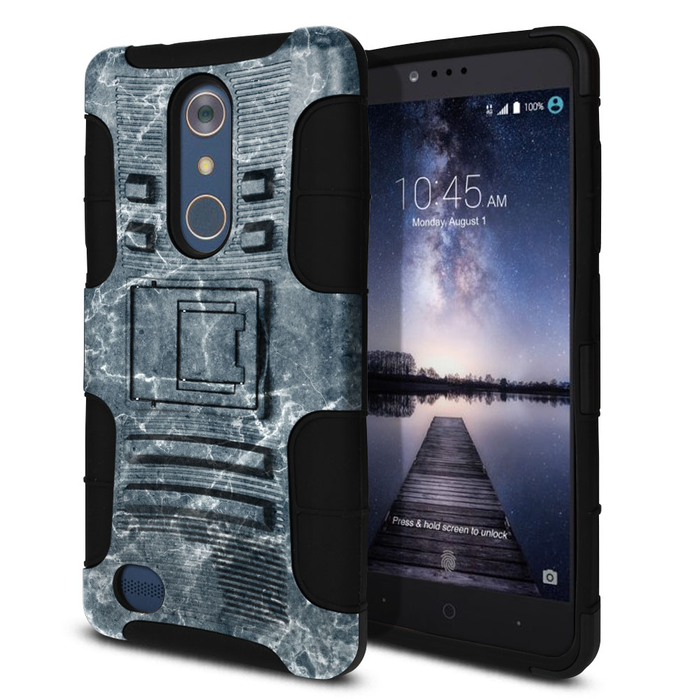 ZTE Zmax Pro Carry Z981 Hybrid Rigid Stand Blue Stone Marble Protector Cover Case