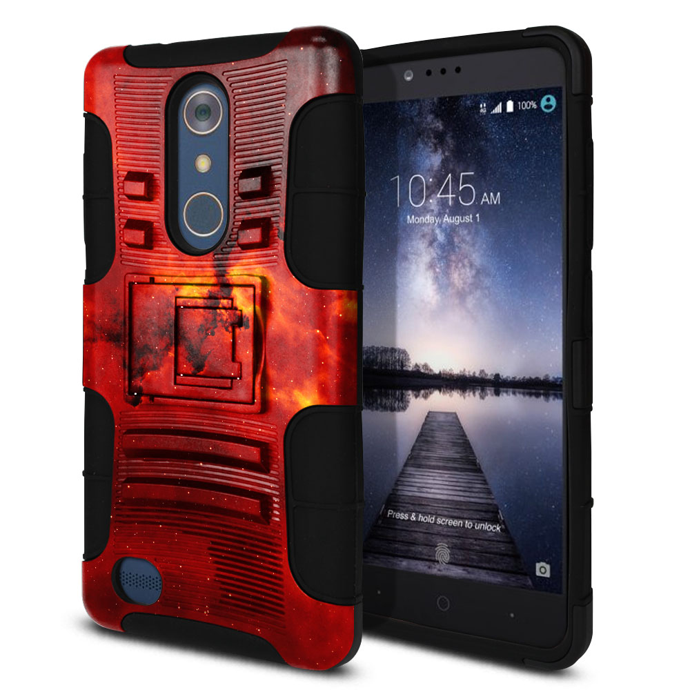 ZTE Zmax Pro Carry Z981 Hybrid Rigid Stand Fiery Galaxy Protector Cover Case