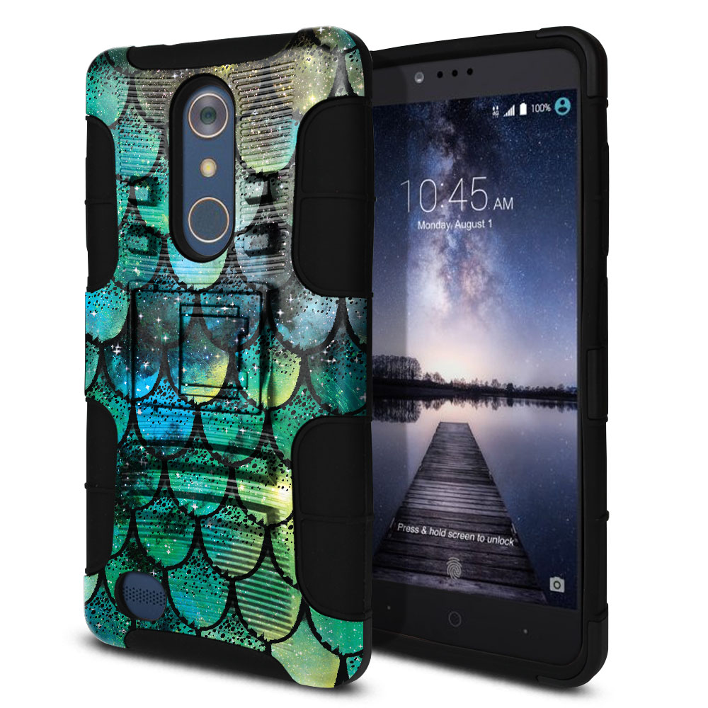 ZTE Zmax Pro Carry Z981 Hybrid Rigid Stand Green Mermaid Scales Protector Cover Case