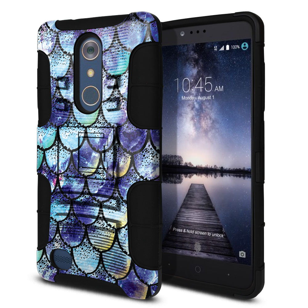 ZTE Zmax Pro Carry Z981 Hybrid Rigid Stand Purple Mermaid Scales Protector Cover Case
