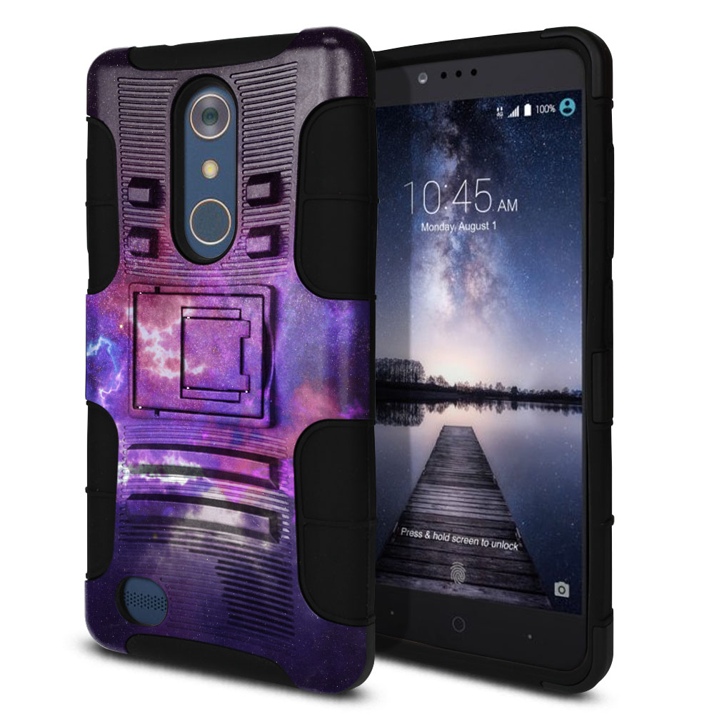 ZTE Zmax Pro Carry Z981 Hybrid Rigid Stand Purple Nebula Space Protector Cover Case