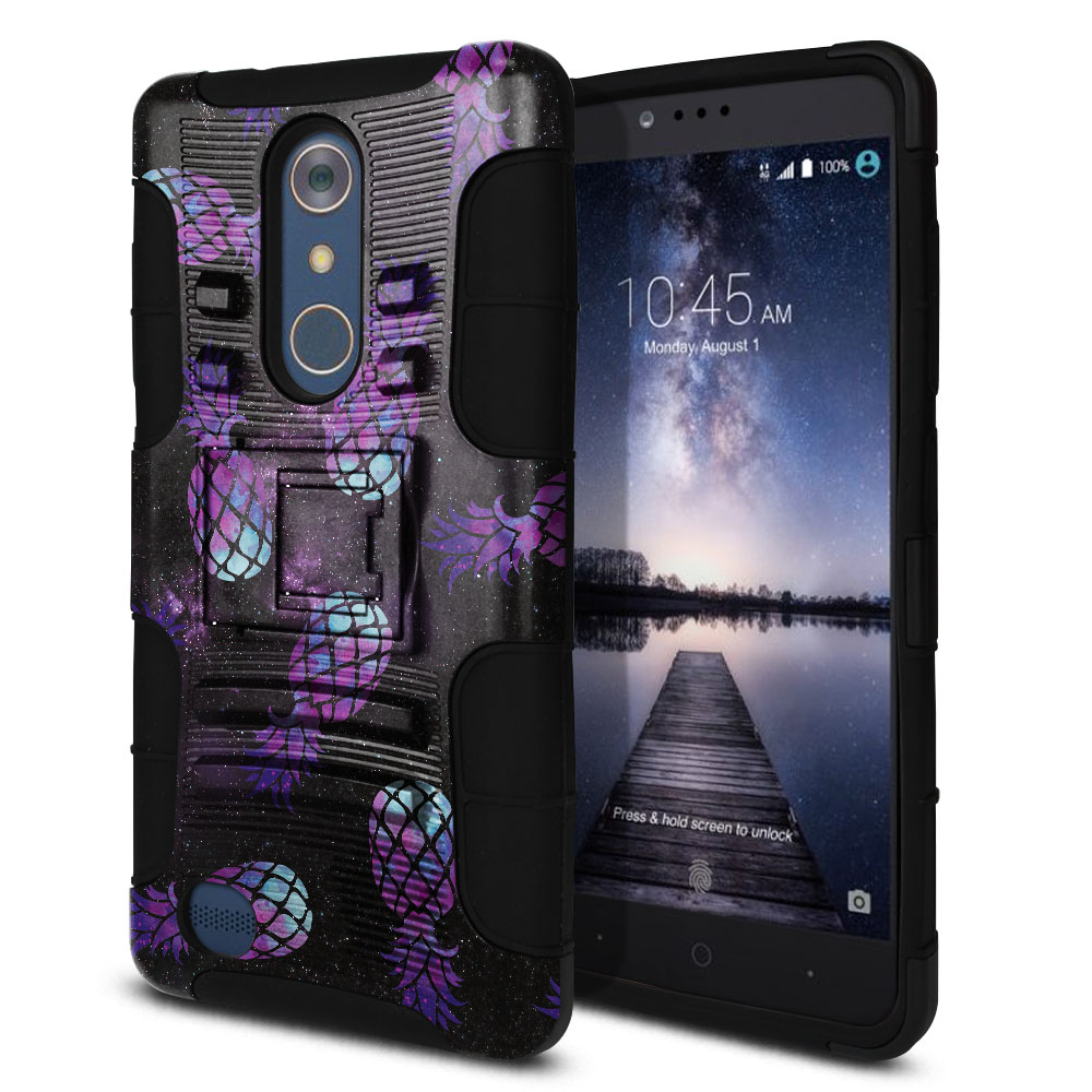 ZTE Zmax Pro Carry Z981 Hybrid Rigid Stand Purple Pineapples Galaxy Protector Cover Case