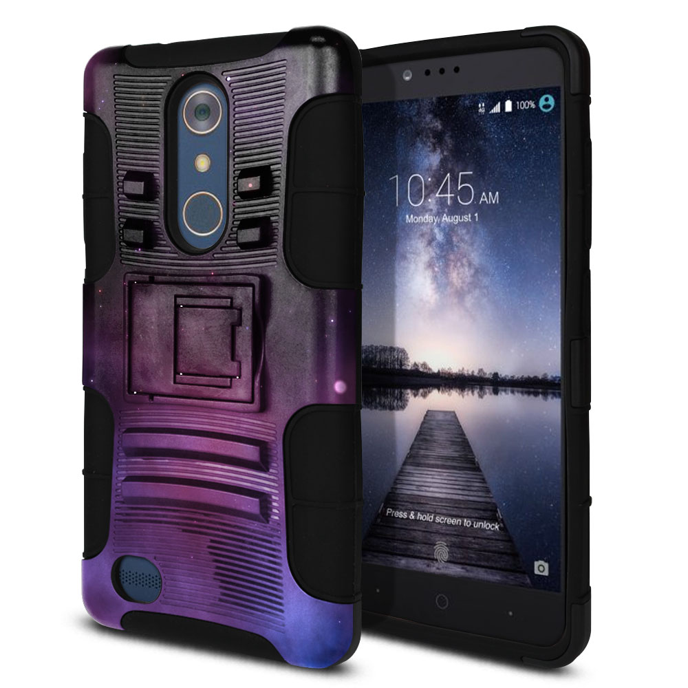 ZTE Zmax Pro Carry Z981 Hybrid Rigid Stand Purple Space Stars Protector Cover Case