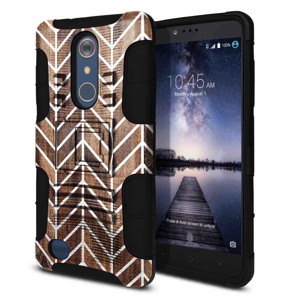 ZTE Zmax Pro Carry Z981 Hybrid Rigid Stand Modern Chevron Wood Protector Cover Case
