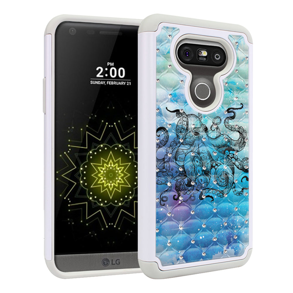 LG G5 H850 VS987 White/Grey Hybrid Total Defense Some Rhinestones Blue Water Octopus Protector Cover Case