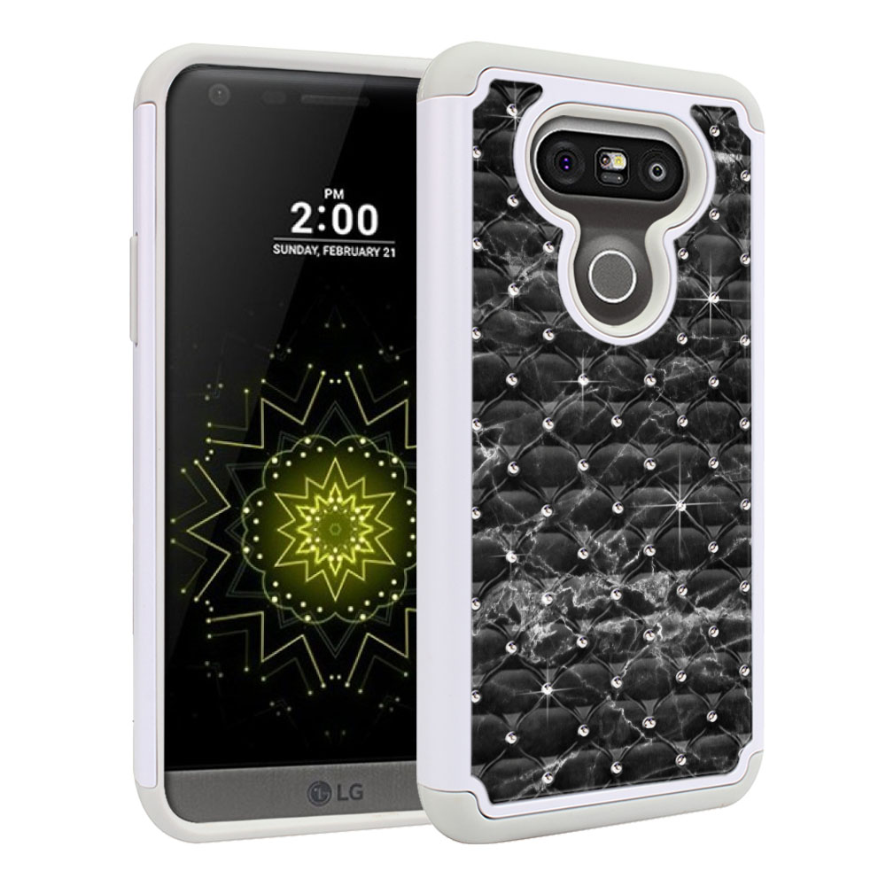 LG G5 H850 VS987 White/Grey Hybrid Total Defense Some Rhinestones Black Stone Marble Protector Cover Case