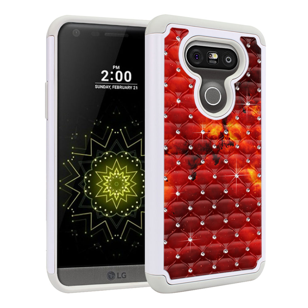 LG G5 H850 VS987 White/Grey Hybrid Total Defense Some Rhinestones Fiery Galaxy Protector Cover Case