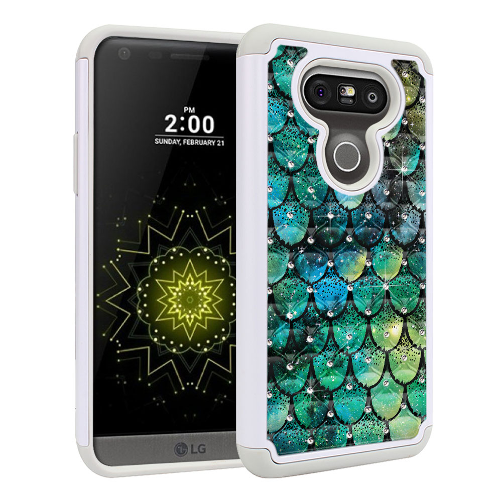 LG G5 H850 VS987 White/Grey Hybrid Total Defense Some Rhinestones Green Mermaid Scales Protector Cover Case