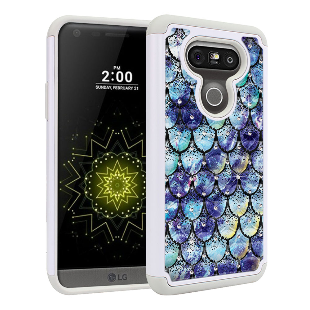 LG G5 H850 VS987 White/Grey Hybrid Total Defense Some Rhinestones Purple Mermaid Scales Protector Cover Case