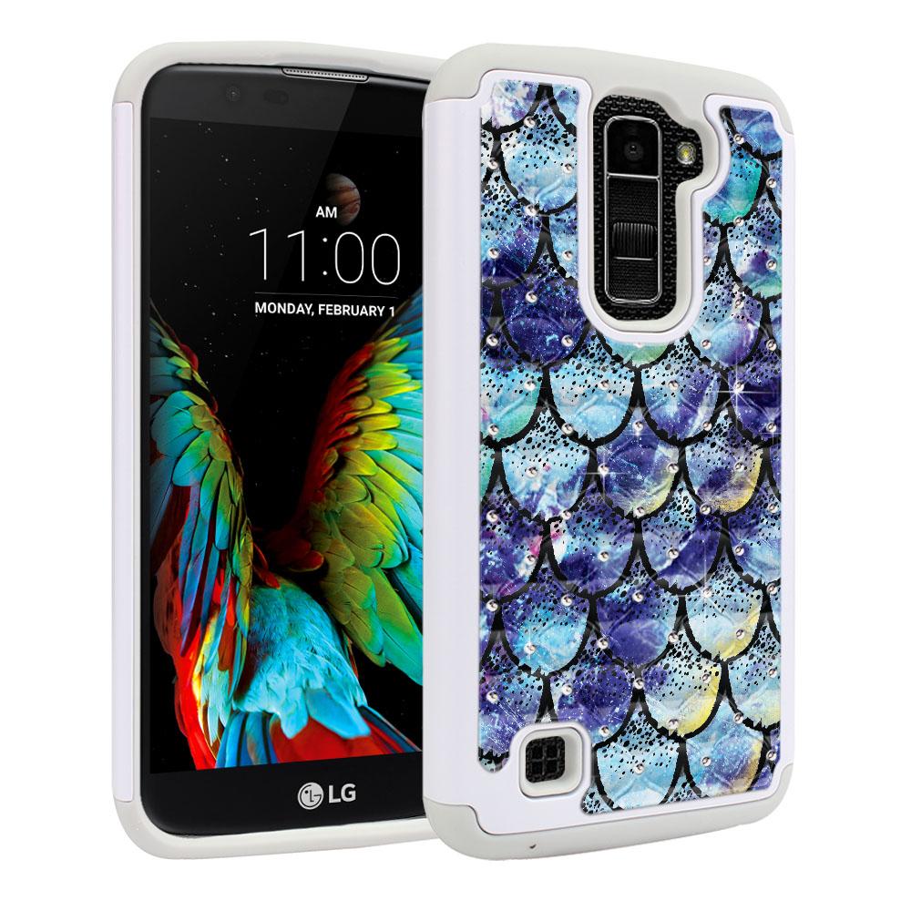 LG K10-LG Premier LTE L62VL L61AL K428 K430 K420 K420N White/Grey Hybrid Total Defense Some Rhinestones Purple Mermaid Scales Protector Cover Case