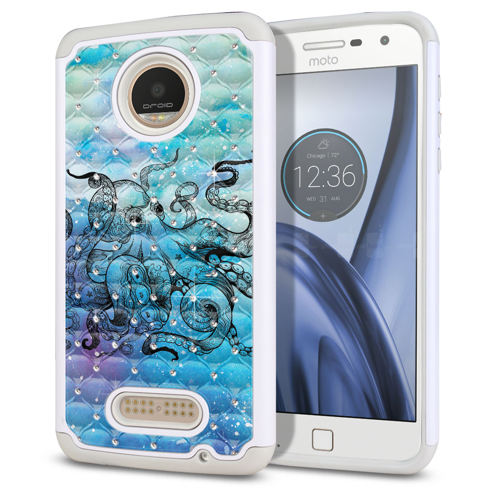 Motorola Moto Z Play Droid XT1635 White/Grey Hybrid Total Defense Some Rhinestones Blue Water Octopus Protector Cover Case