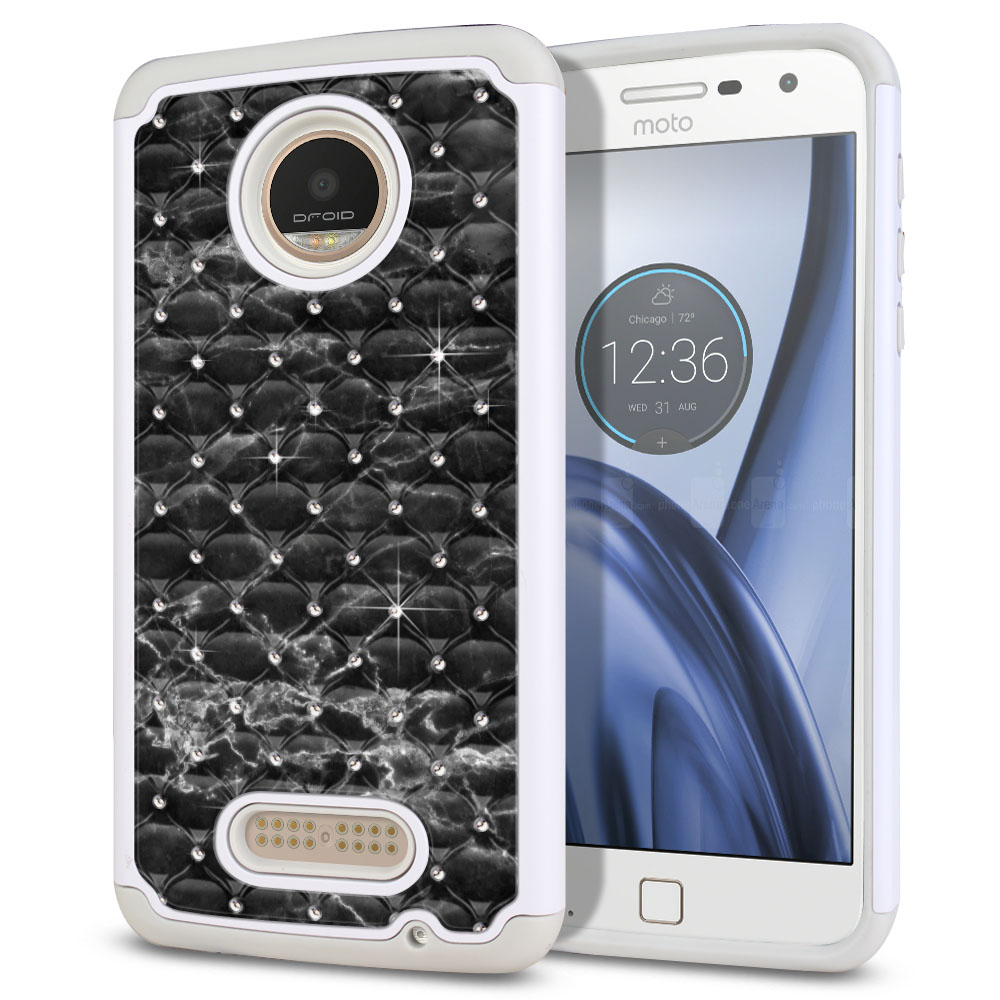 Motorola Moto Z Play Droid XT1635 White/Grey Hybrid Total Defense Some Rhinestones Black Stone Marble Protector Cover Case