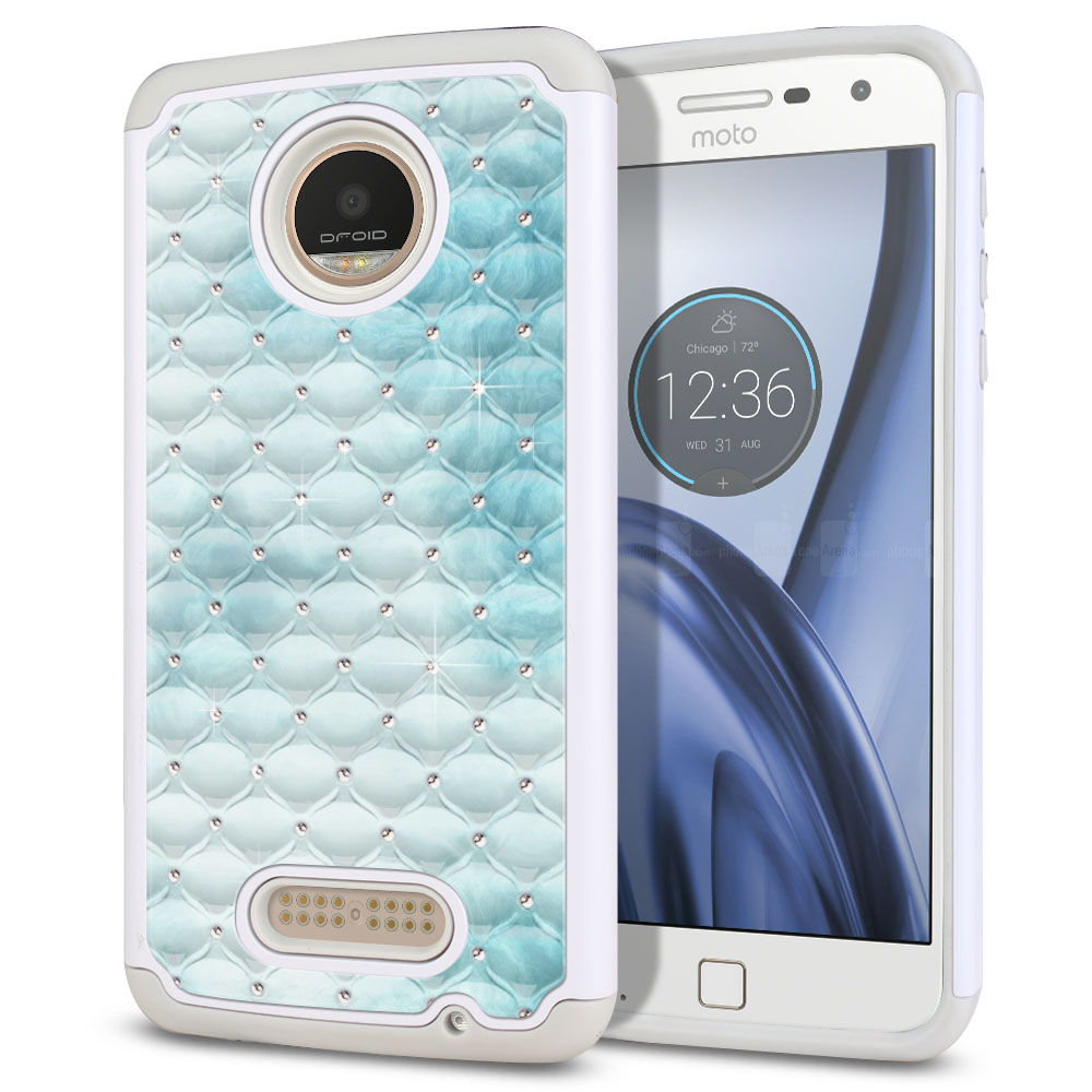 Motorola Moto Z Play Droid XT1635 White/Grey Hybrid Total Defense Some Rhinestones Blue Cloudy Marble Protector Cover Case