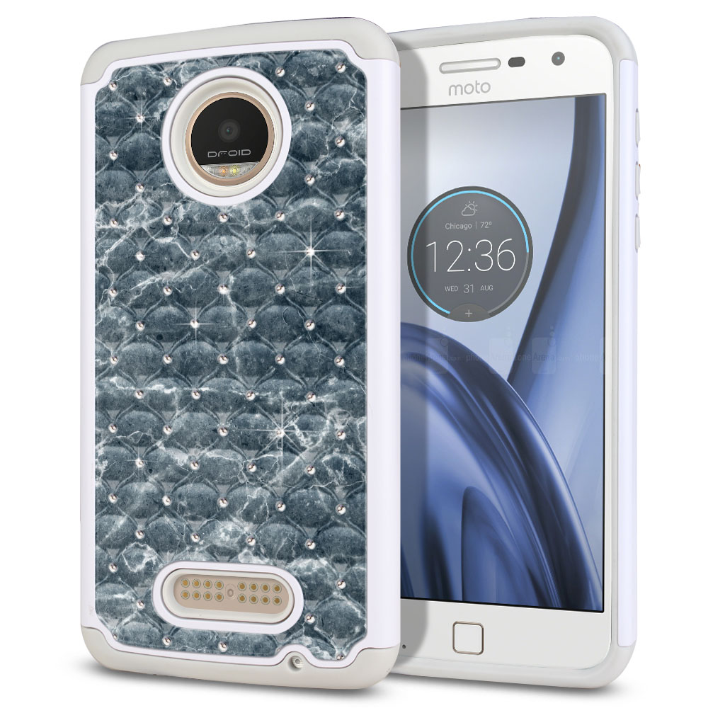 Motorola Moto Z Play Droid XT1635 White/Grey Hybrid Total Defense Some Rhinestones Blue Stone Marble Protector Cover Case
