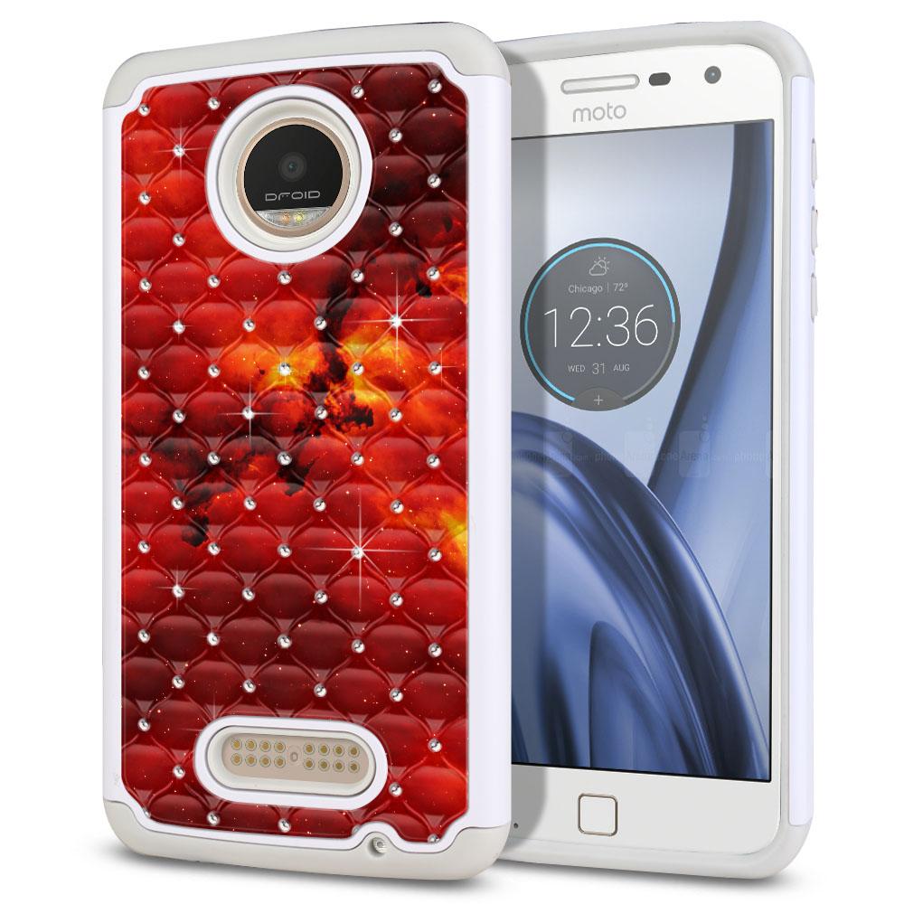 Motorola Moto Z Play Droid XT1635 White/Grey Hybrid Total Defense Some Rhinestones Fiery Galaxy Protector Cover Case