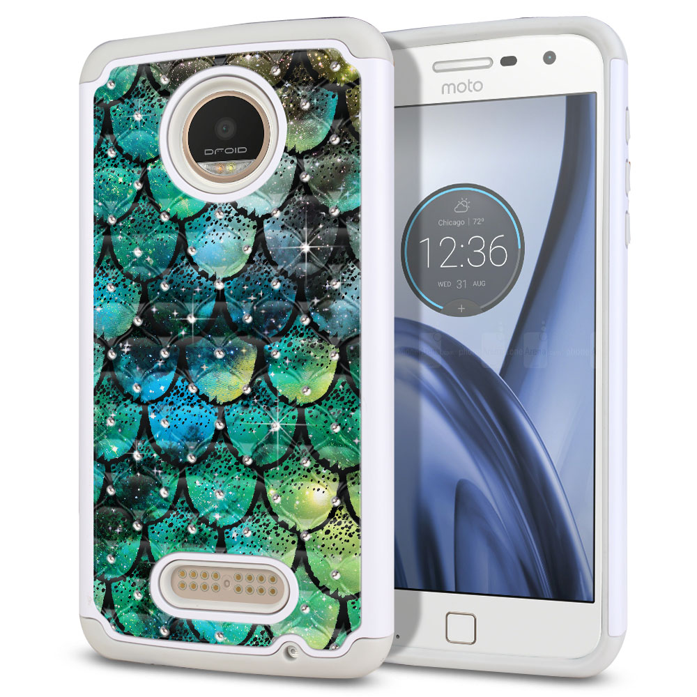 Motorola Moto Z Play Droid XT1635 White/Grey Hybrid Total Defense Some Rhinestones Green Mermaid Scales Protector Cover Case