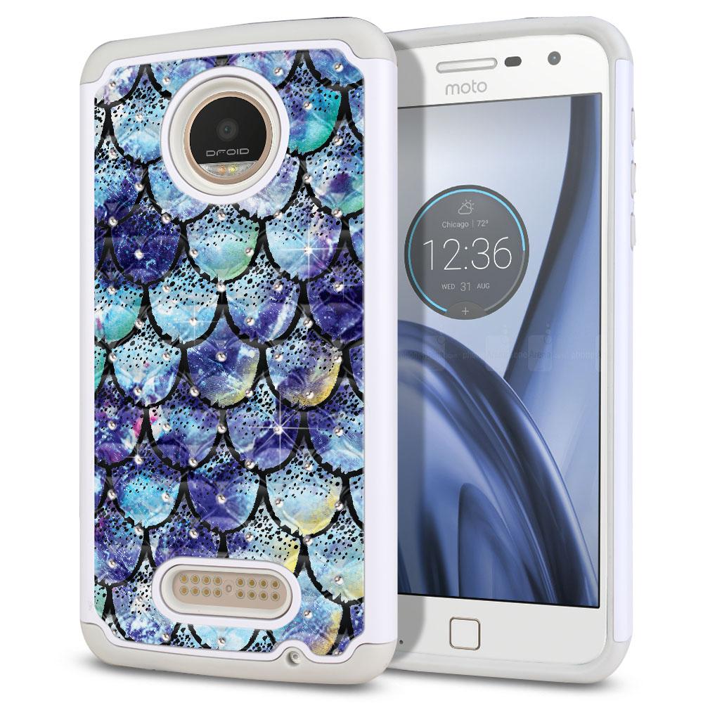 Motorola Moto Z Play Droid XT1635 White/Grey Hybrid Total Defense Some Rhinestones Purple Mermaid Scales Protector Cover Case