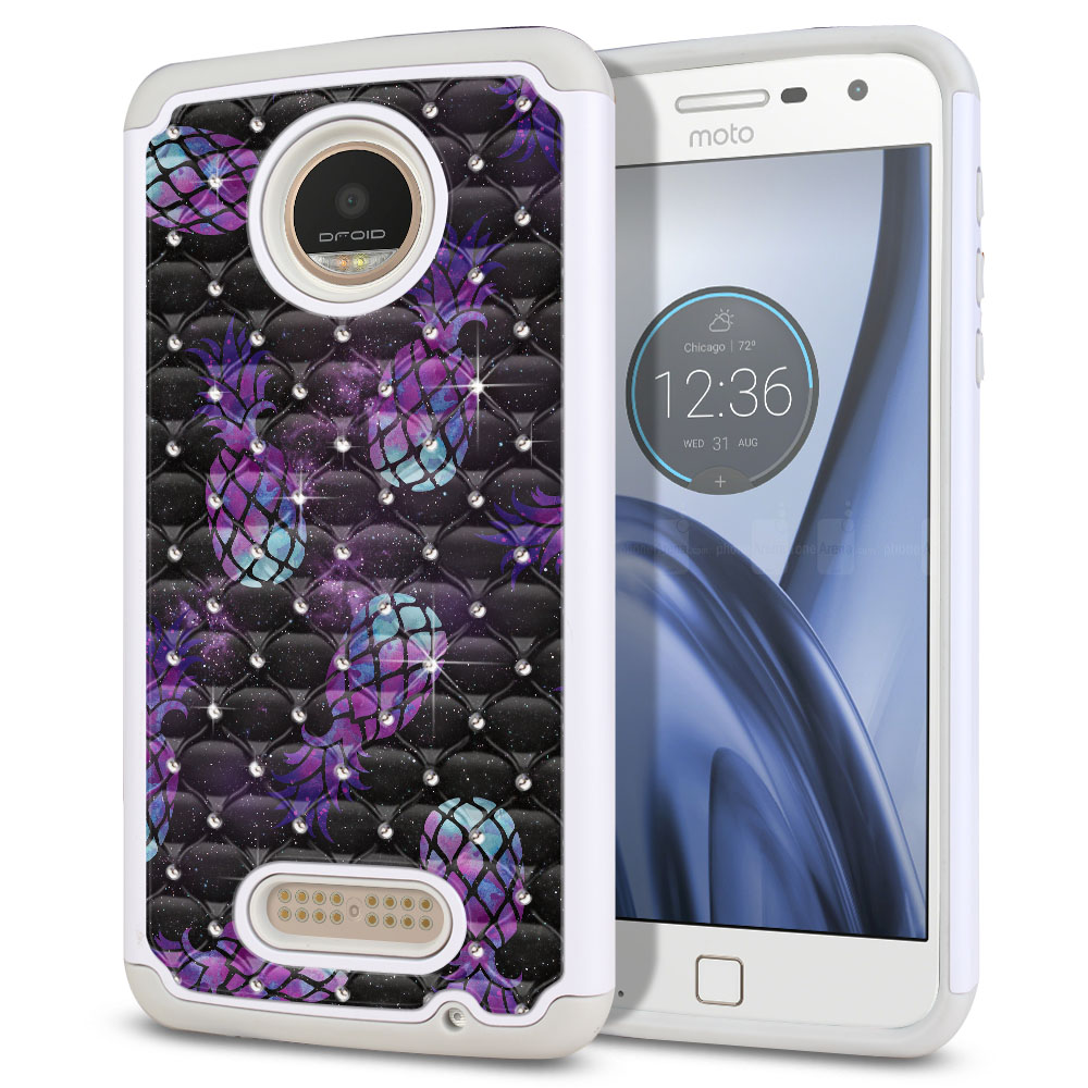 Motorola Moto Z Play Droid XT1635 White/Grey Hybrid Total Defense Some Rhinestones Purple Pineapples Galaxy Protector Cover Case