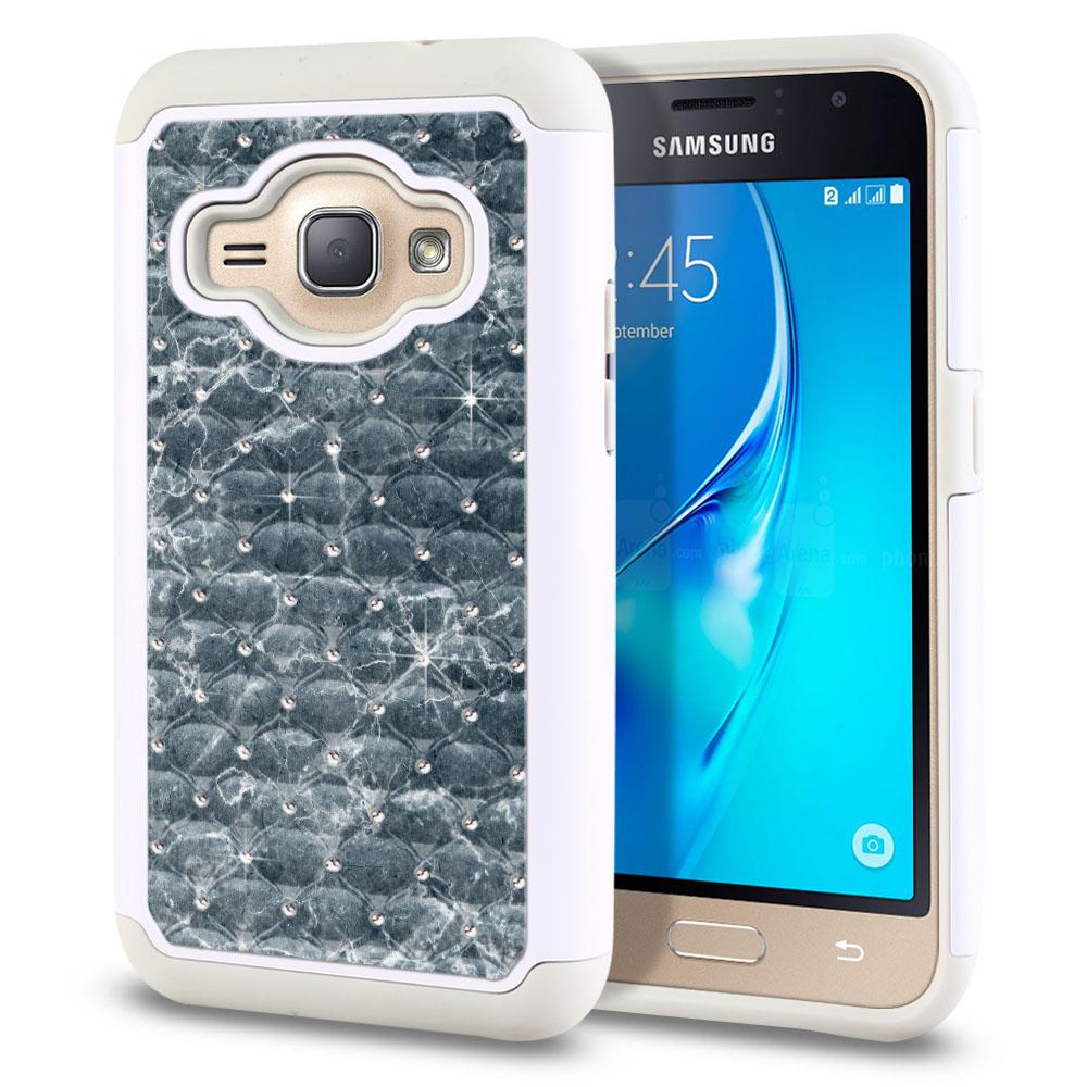 Samsung Galaxy J1 J120 2nd Gen 2016-Samsung Galaxy AMP 2 2nd Gen 2016-Samsung Galaxy Express 3-Samsung Galaxy Luna S120 White/Grey Hybrid Total Defense Some Rhinestones Blue Stone Marble Protector Cover Case
