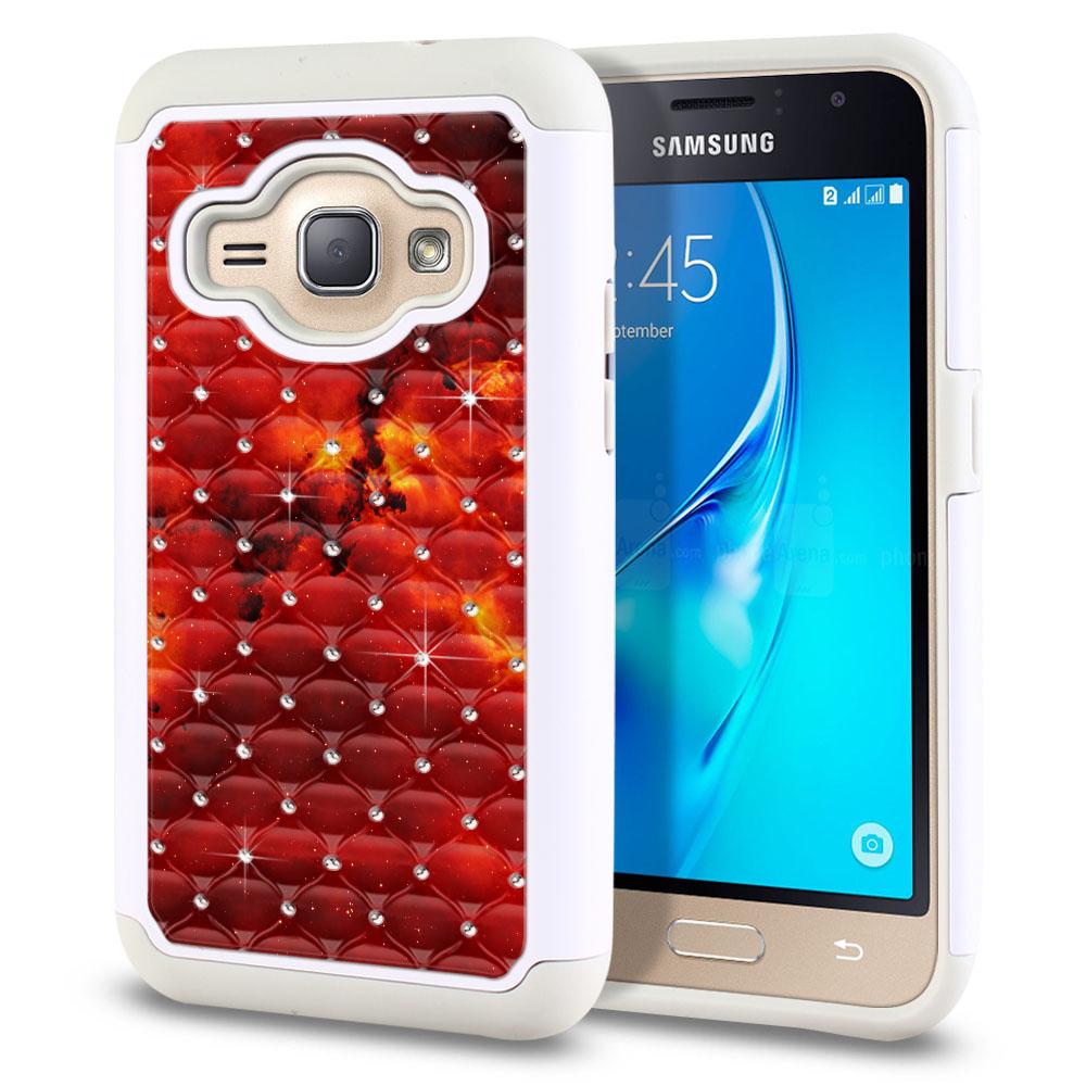 Samsung Galaxy J1 J120 2nd Gen 2016-Samsung Galaxy AMP 2 2nd Gen 2016-Samsung Galaxy Express 3-Samsung Galaxy Luna S120 White/Grey Hybrid Total Defense Some Rhinestones Fiery Galaxy Protector Cover Case