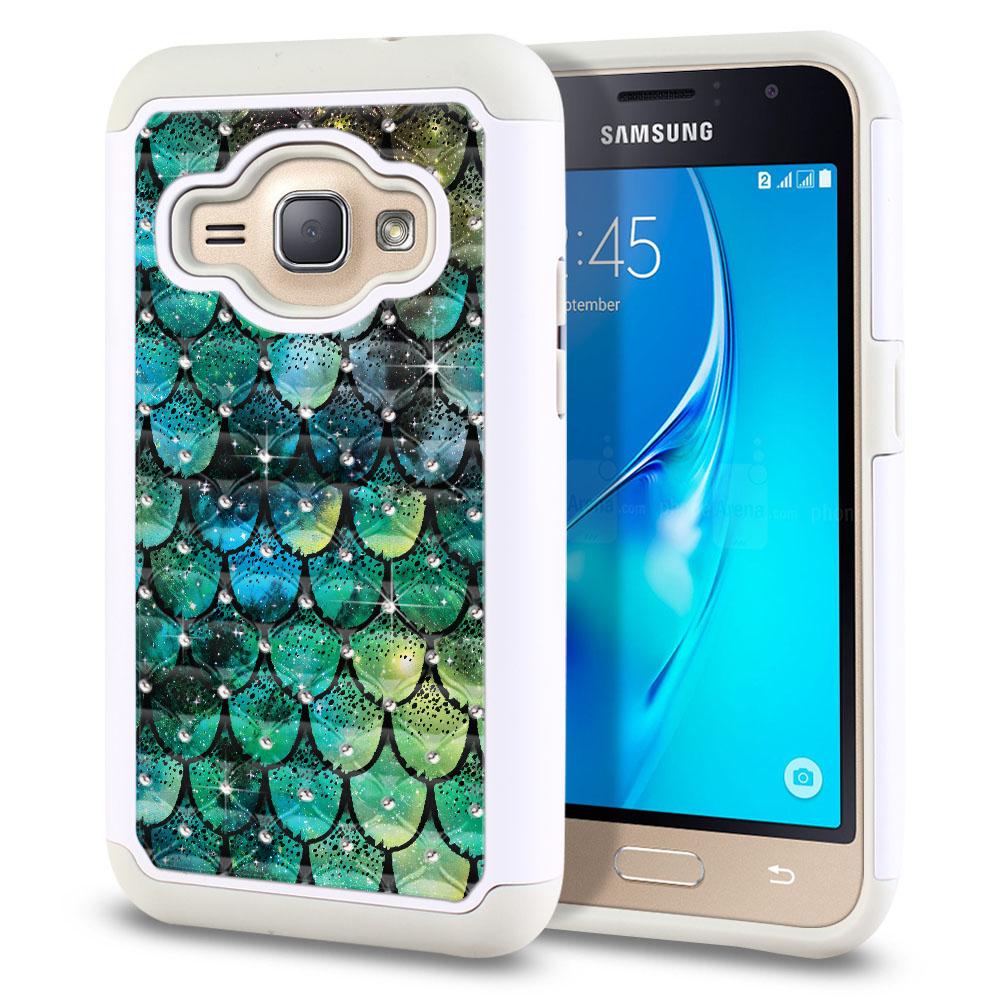 Samsung Galaxy J1 J120 2nd Gen 2016-Samsung Galaxy AMP 2 2nd Gen 2016-Samsung Galaxy Express 3-Samsung Galaxy Luna S120 White/Grey Hybrid Total Defense Some Rhinestones Green Mermaid Scales Protector Cover Case
