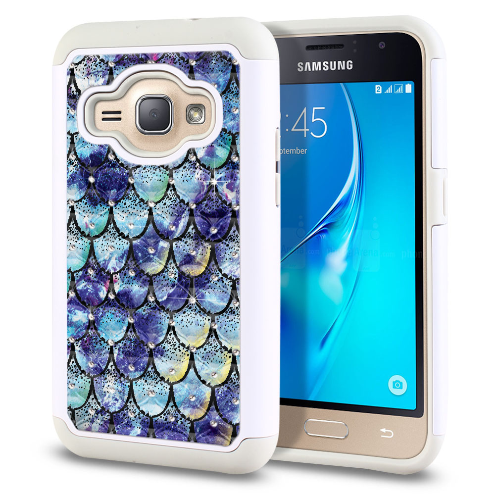 Samsung Galaxy J1 J120 2nd Gen 2016-Samsung Galaxy AMP 2 2nd Gen 2016-Samsung Galaxy Express 3-Samsung Galaxy Luna S120 White/Grey Hybrid Total Defense Some Rhinestones Purple Mermaid Scales Protector Cover Case