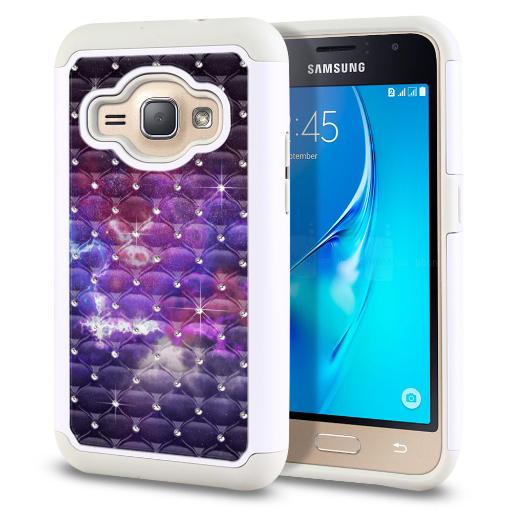 Samsung Galaxy J1 J120 2nd Gen 2016-Samsung Galaxy AMP 2 2nd Gen 2016-Samsung Galaxy Express 3-Samsung Galaxy Luna S120 White/Grey Hybrid Total Defense Some Rhinestones Purple Nebula Space Protector Cover Case