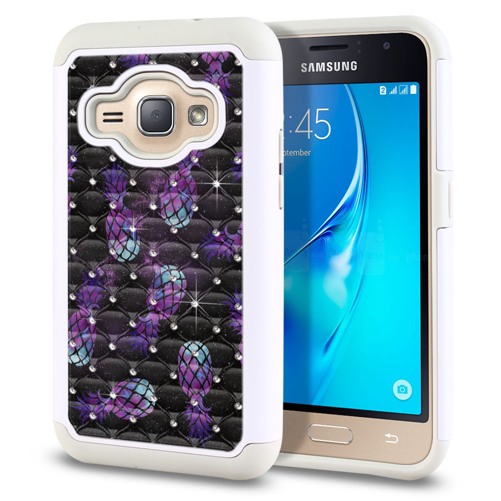 Samsung Galaxy J1 J120 2nd Gen 2016-Samsung Galaxy AMP 2 2nd Gen 2016-Samsung Galaxy Express 3-Samsung Galaxy Luna S120 White/Grey Hybrid Total Defense Some Rhinestones Purple Pineapples Galaxy Protector Cover Case