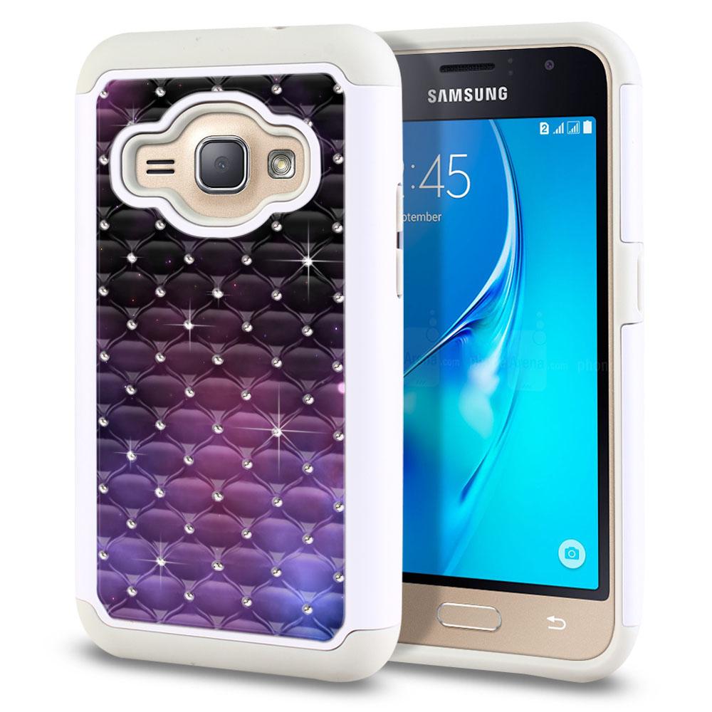 Samsung Galaxy J1 J120 2nd Gen 2016-Samsung Galaxy AMP 2 2nd Gen 2016-Samsung Galaxy Express 3-Samsung Galaxy Luna S120 White/Grey Hybrid Total Defense Some Rhinestones Purple Space Stars Protector Cover Case