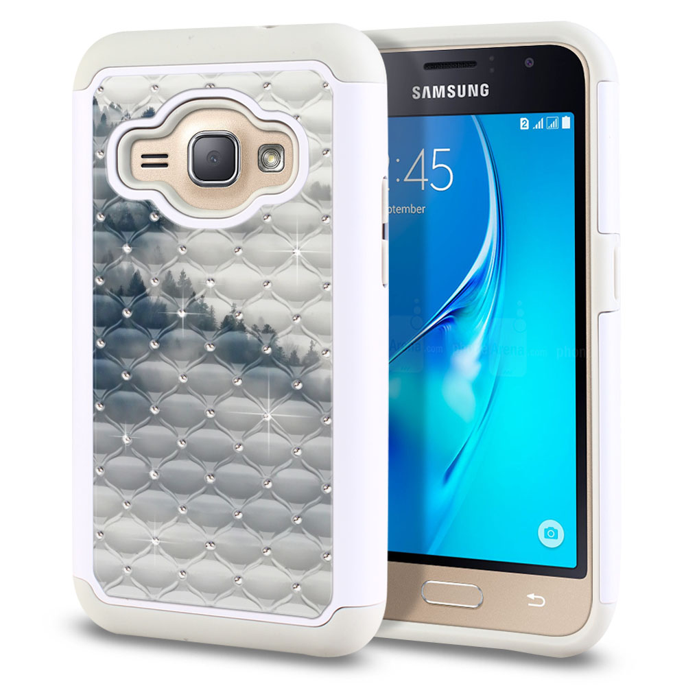 Samsung Galaxy J1 J120 2nd Gen 2016-Samsung Galaxy AMP 2 2nd Gen 2016-Samsung Galaxy Express 3-Samsung Galaxy Luna S120 White/Grey Hybrid Total Defense Some Rhinestones Winter Trees Protector Cover Case