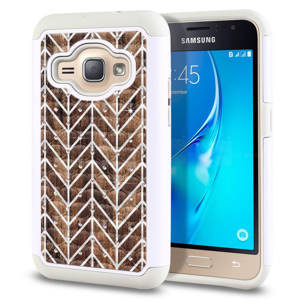 Samsung Galaxy J1 J120 2nd Gen 2016-Samsung Galaxy AMP 2 2nd Gen 2016-Samsung Galaxy Express 3-Samsung Galaxy Luna S120 White/Grey Hybrid Total Defense Some Rhinestones Modern Chevron Wood Protector Cover Case