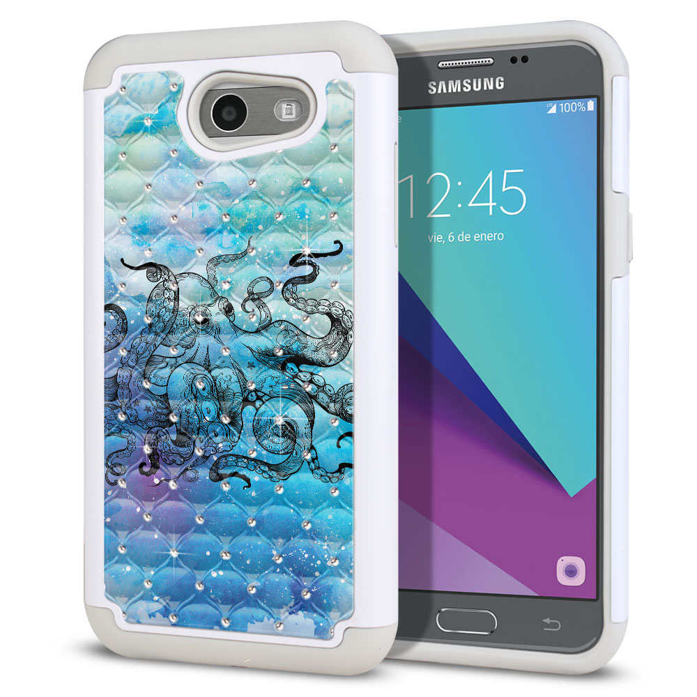 Samsung Galaxy J3 J327 2017 2nd Gen (Not fit for J3 2016, J3 Pro 2017) White/Grey Hybrid Total Defense Some Rhinestones Blue Water Octopus Protector Cover Case