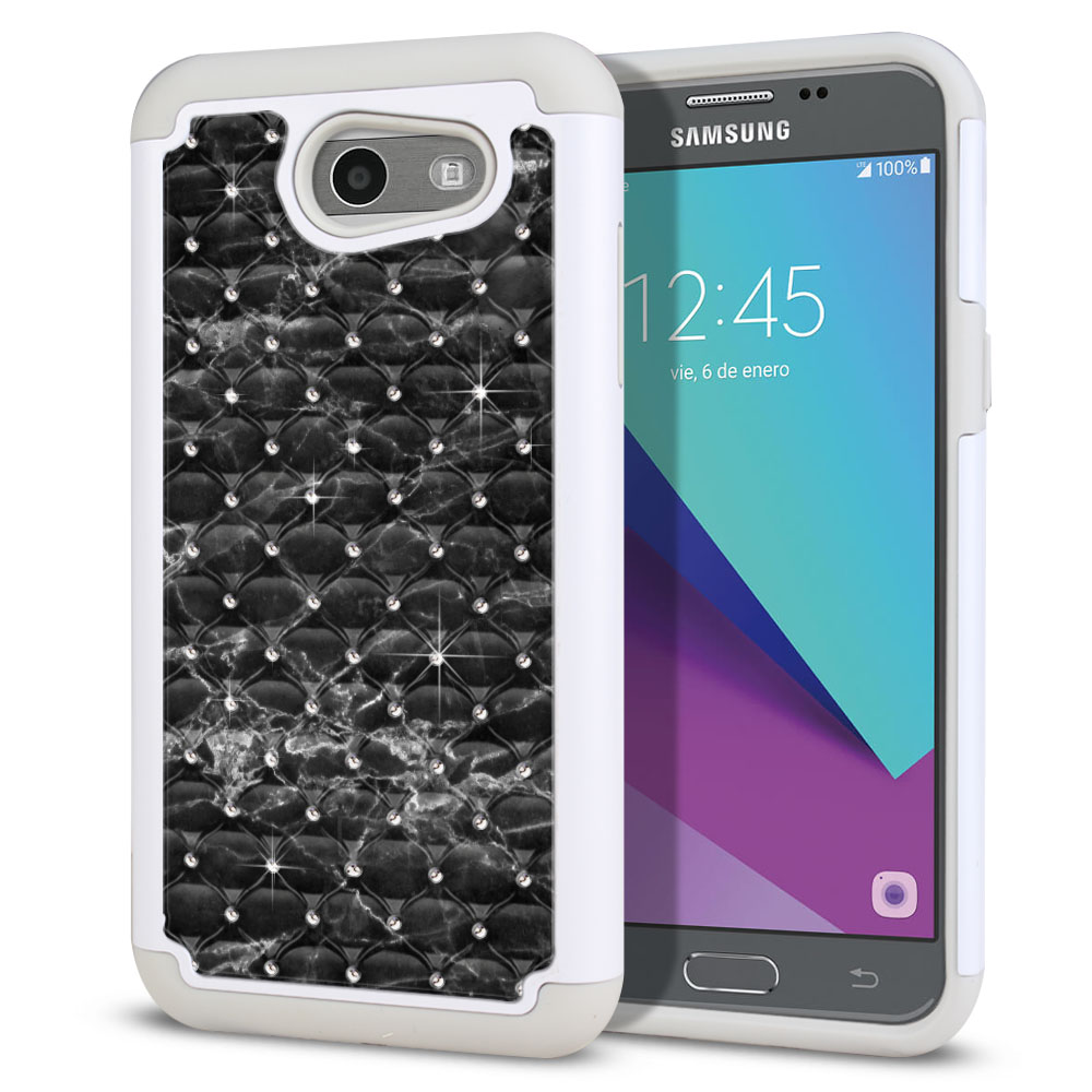 Samsung Galaxy J3 J327 2017 2nd Gen (Not fit for J3 2016, J3 Pro 2017) White/Grey Hybrid Total Defense Some Rhinestones Black Stone Marble Protector Cover Case