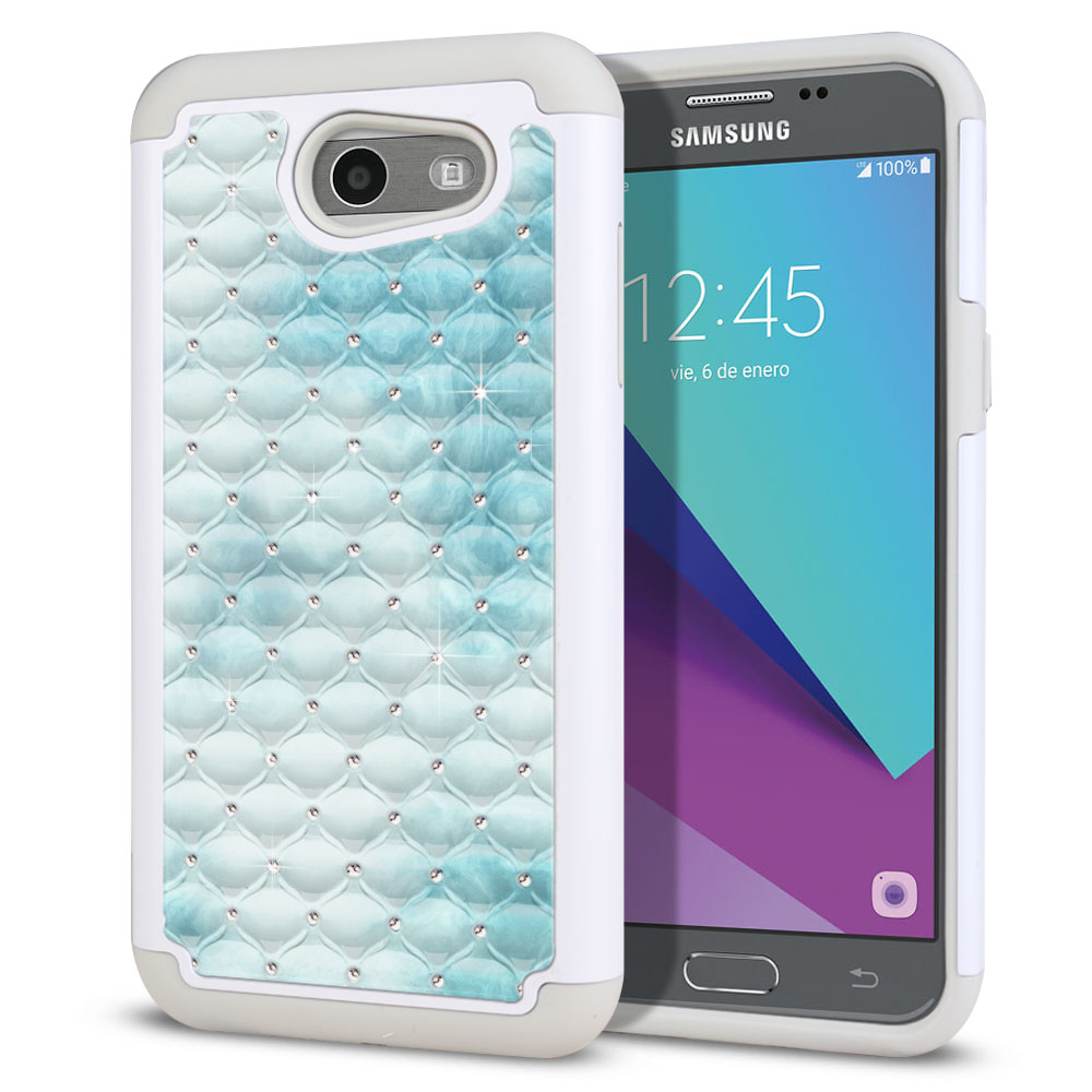 Samsung Galaxy J3 J327 2017 2nd Gen (Not fit for J3 2016, J3 Pro 2017) White/Grey Hybrid Total Defense Some Rhinestones Blue Cloudy Marble Protector Cover Case