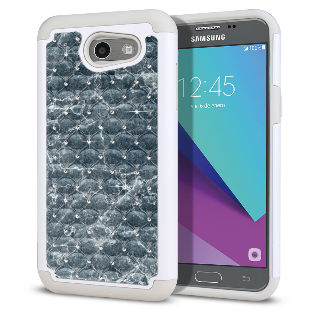 Samsung Galaxy J3 J327 2017 2nd Gen (Not fit for J3 2016, J3 Pro 2017) White/Grey Hybrid Total Defense Some Rhinestones Blue Stone Marble Protector Cover Case