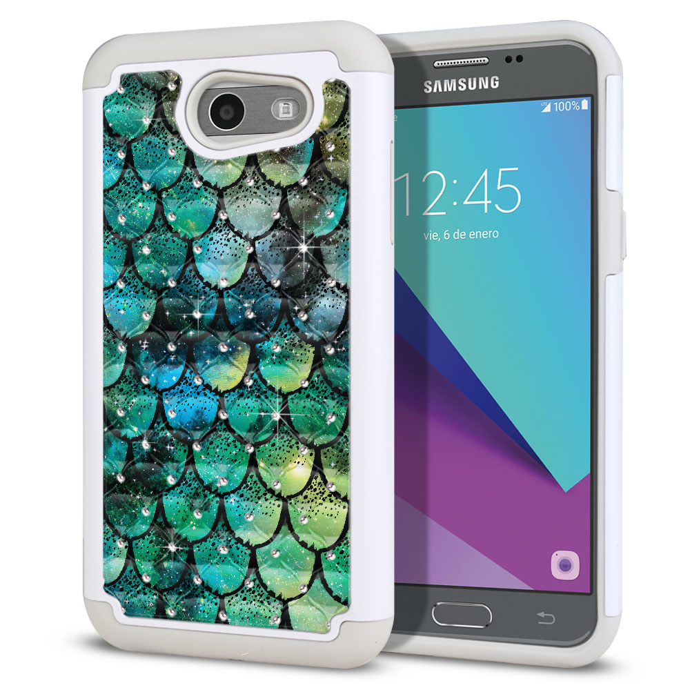 Samsung Galaxy J3 J327 2017 2nd Gen (Not fit for J3 2016, J3 Pro 2017) White/Grey Hybrid Total Defense Some Rhinestones Green Mermaid Scales Protector Cover Case