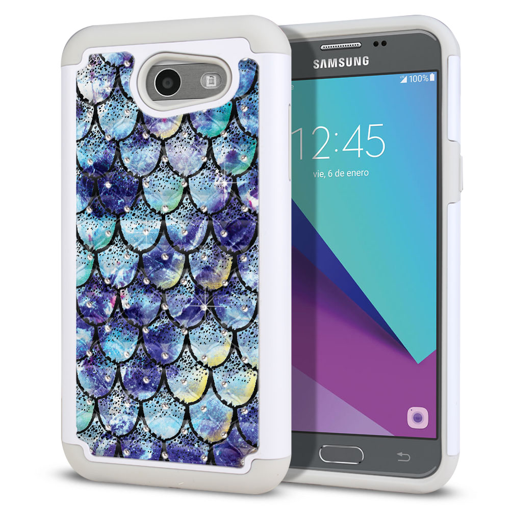 Samsung Galaxy J3 J327 2017 2nd Gen (Not fit for J3 2016, J3 Pro 2017) White/Grey Hybrid Total Defense Some Rhinestones Purple Mermaid Scales Protector Cover Case