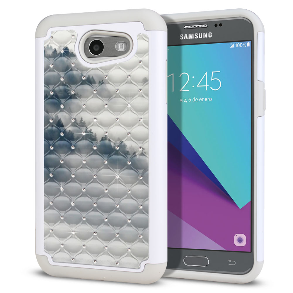 Samsung Galaxy J3 J327 2017 2nd Gen (Not fit for J3 2016, J3 Pro 2017) White/Grey Hybrid Total Defense Some Rhinestones Winter Trees Protector Cover Case