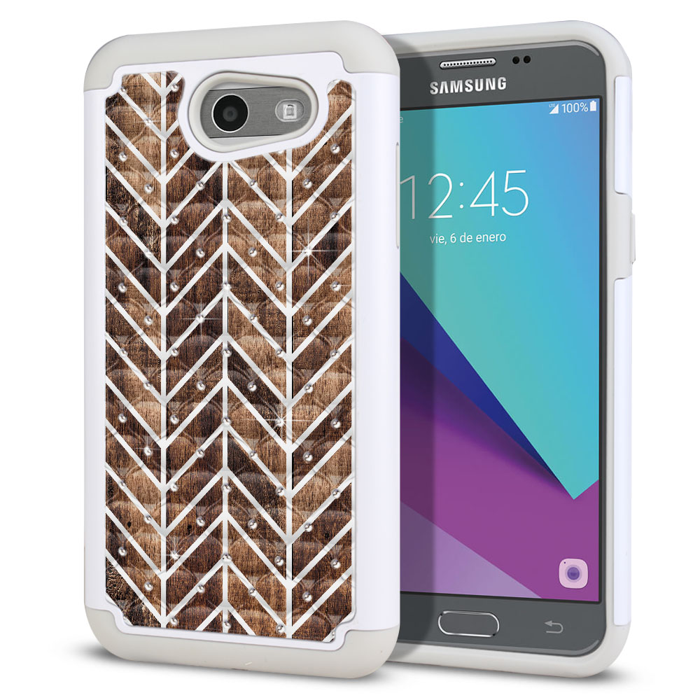 Samsung Galaxy J3 J327 2017 2nd Gen (Not fit for J3 2016, J3 Pro 2017) White/Grey Hybrid Total Defense Some Rhinestones Modern Chevron Wood Protector Cover Case