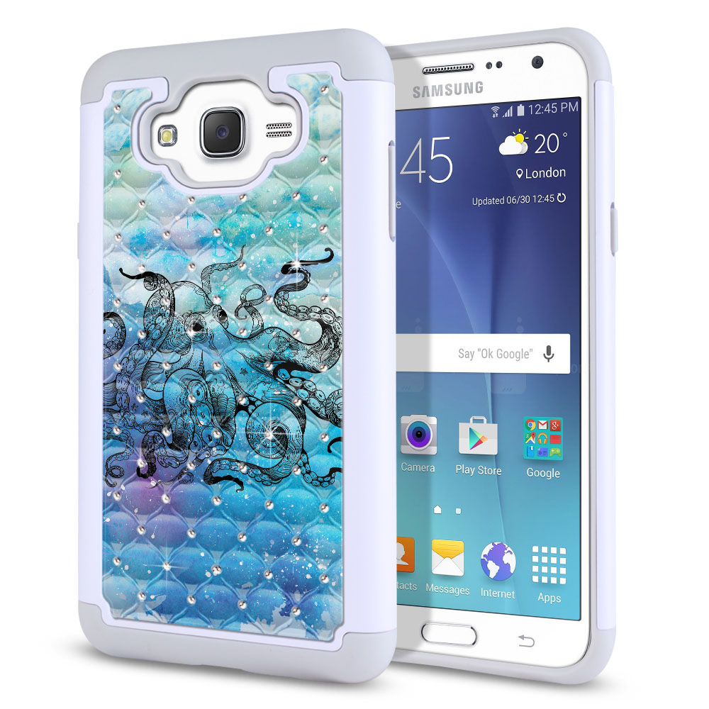 Samsung Galaxy J7 J700 White/Grey Hybrid Total Defense Some Rhinestones Blue Water Octopus Protector Cover Case