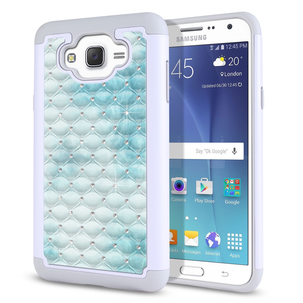 Samsung Galaxy J7 J700 White/Grey Hybrid Total Defense Some Rhinestones Blue Cloudy Marble Protector Cover Case