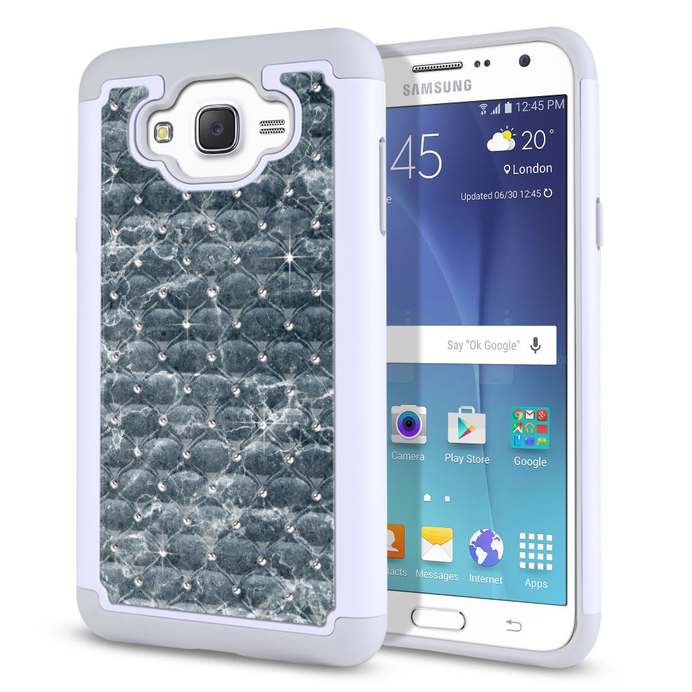 Samsung Galaxy J7 J700 White/Grey Hybrid Total Defense Some Rhinestones Blue Stone Marble Protector Cover Case