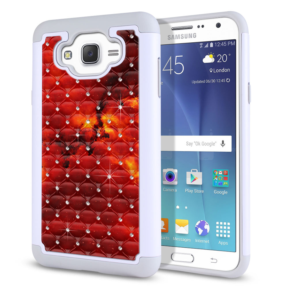 Samsung Galaxy J7 J700 White/Grey Hybrid Total Defense Some Rhinestones Fiery Galaxy Protector Cover Case