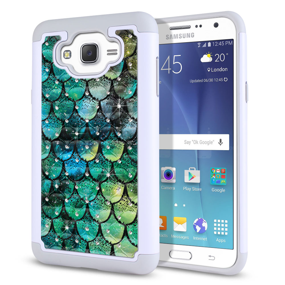 Samsung Galaxy J7 J700 White/Grey Hybrid Total Defense Some Rhinestones Green Mermaid Scales Protector Cover Case